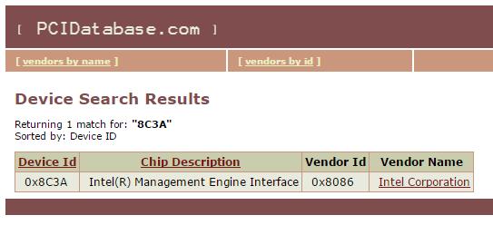 Beispielhafte Ergebnissseite von PCIDatabase